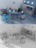 个性简约办公室装饰3D模型