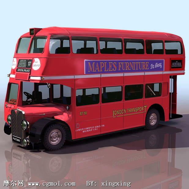 双层巴士3d模型