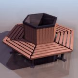 公园六边形环形椅模型