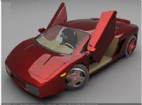 红色时尚跑车3d模型