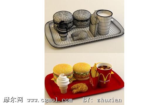 麦当劳套餐3d模型
