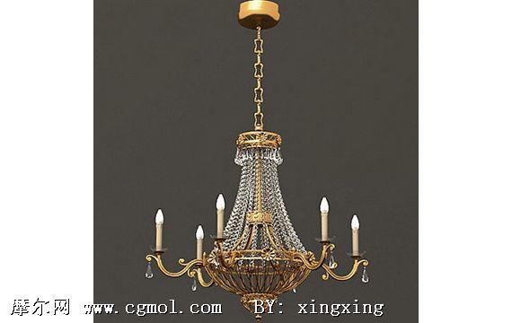 欧式水晶吊灯3d模型