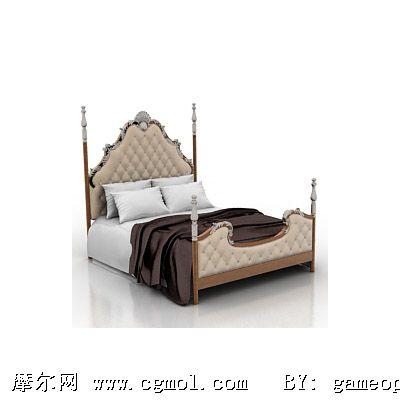 欧式豪华床模型,室内家具