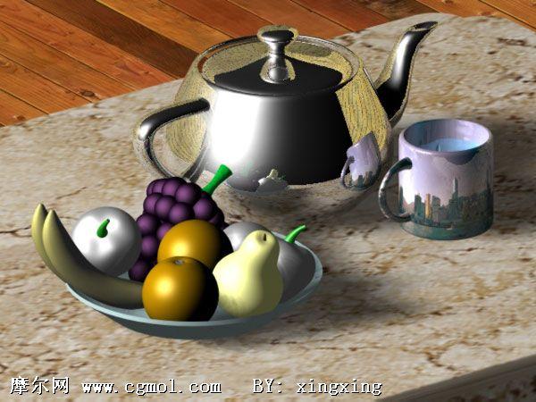 欧式水晶吊灯3d模型; 摩尔网 室内模型 家居装饰 茶具水果3d模型