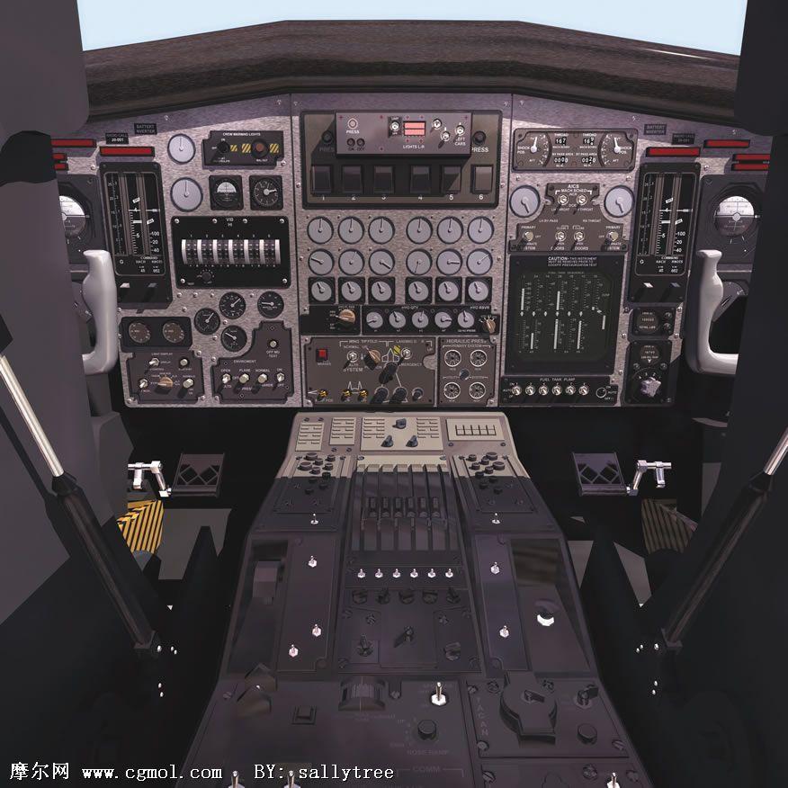 高精度飞机驾驶舱3d模型