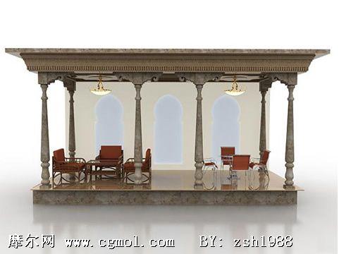 欧式凉亭3d模型,欧式建筑