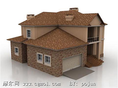 家庭住宅3d模型,欧式建筑
