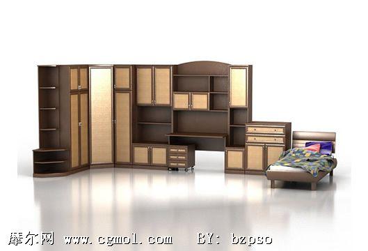 卧室衣柜组合3d模型,室内家具