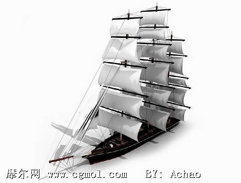 高精度帆船3D模型