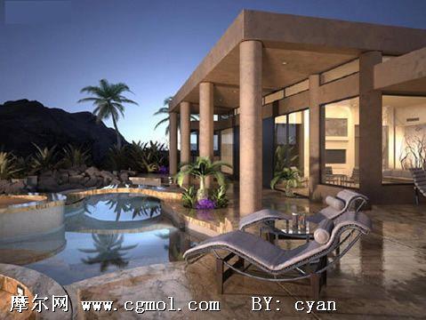 酒店外景3D模型