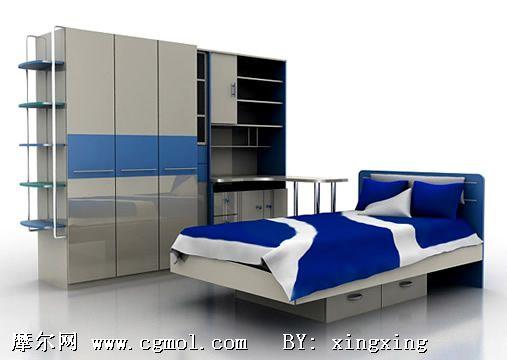 儿童单人床和床柜模型