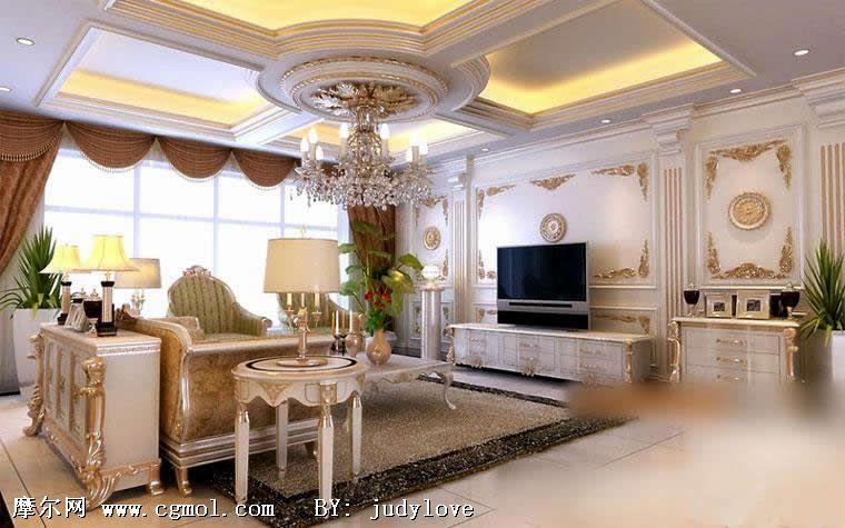 房子客厅装修设计欧式图片大全