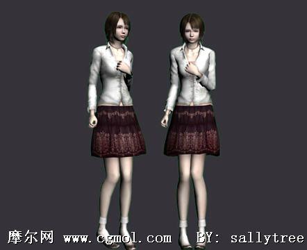 高挑时尚美女3d模型 现实角色
