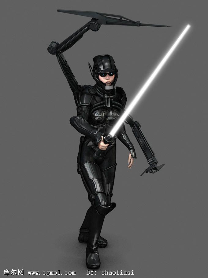 科幻美女战士3d模型