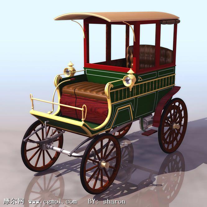 木制马车3d模型