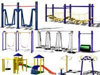 16套室外运动健身器材3D模型
