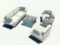 玻璃材质沙发茶几3D模型