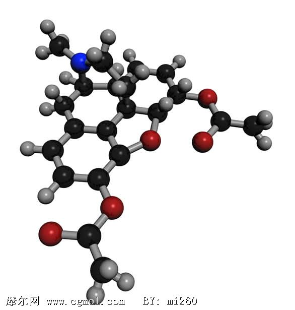 海洛因heroin分子结构3d模型