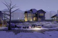 高精细冬天的别墅场景3D模型