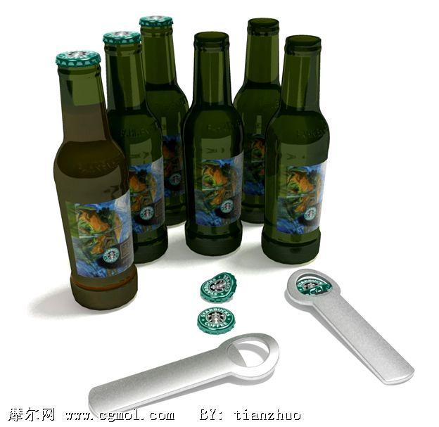 啤酒,开瓶器3d模型