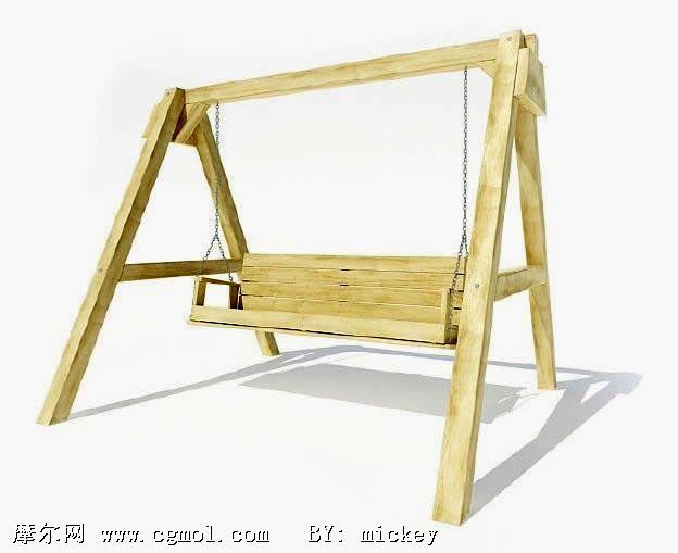 儿童玩具木制秋千3d模型