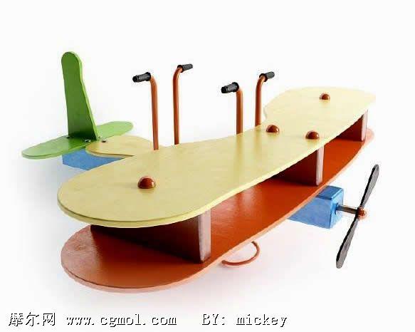 木制双翼飞机儿童玩具3d模型