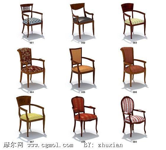 欧式古典家具3d模型,室内家具