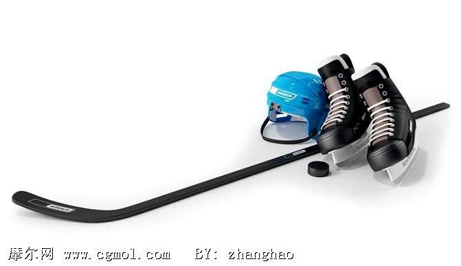冰球运动装备,冰鞋,头盔,冰球棍3D模型