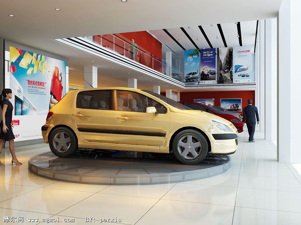 汽车展厅概念效果图,整体效果