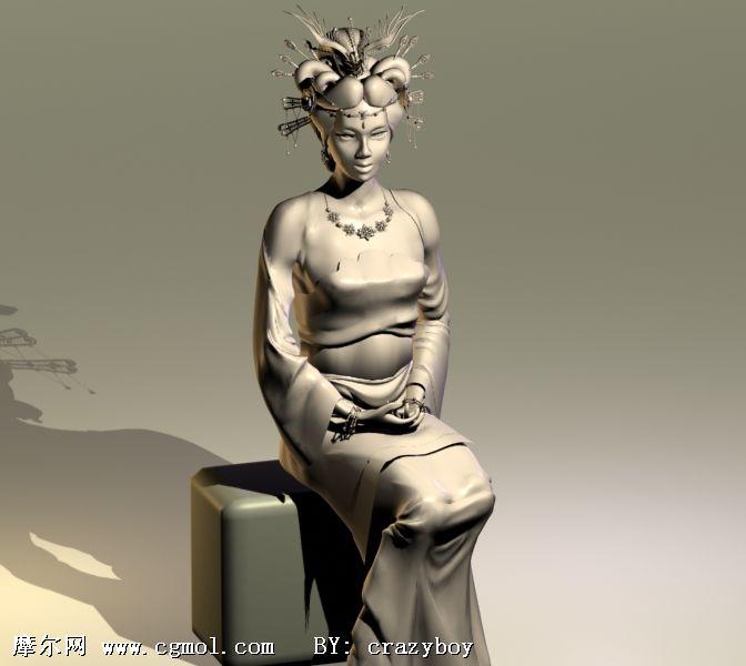 头戴凤冠的古代女子3D模型