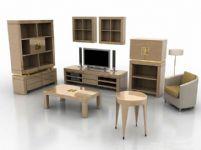 电视柜,衣柜,沙发,壁柜,鞋柜,凳子,茶几木制家具3D模型