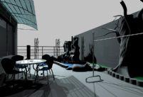 假山,古树,桌椅现代场景3D模型