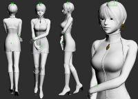 带骨骼的时尚短发女郎3D模型