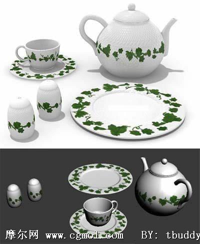 绿色藤条花纹陶瓷茶杯组合3d模型