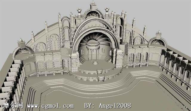 一个很精细的maya广场场景3d模型 高清图片
