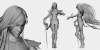 长发飘逸的帅气女剑士MAYA模型