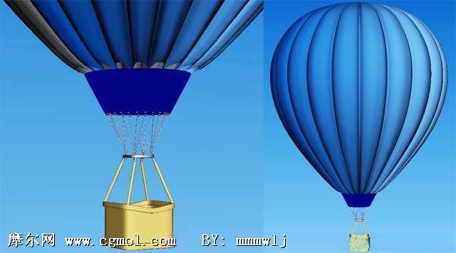 蓝色的热气球3d模型