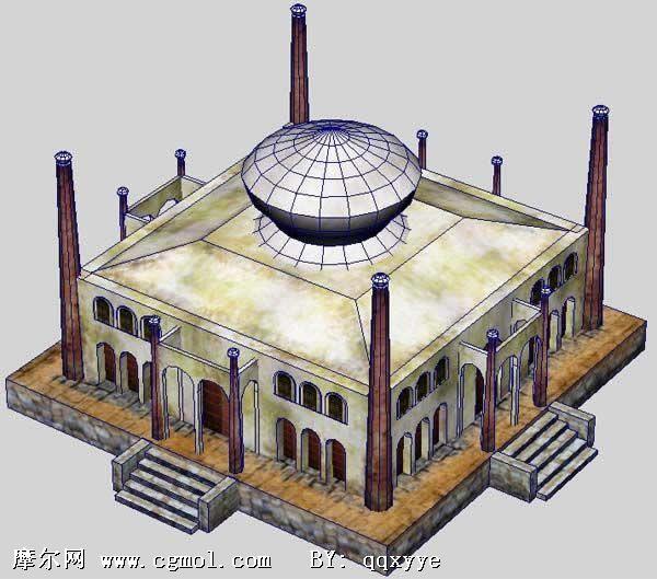 maya 建筑模型 ,阿拉伯式 圆顶 城堡房屋模型,国外高清图片