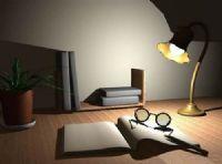 学习的书桌,台灯,植物,书本3D模型