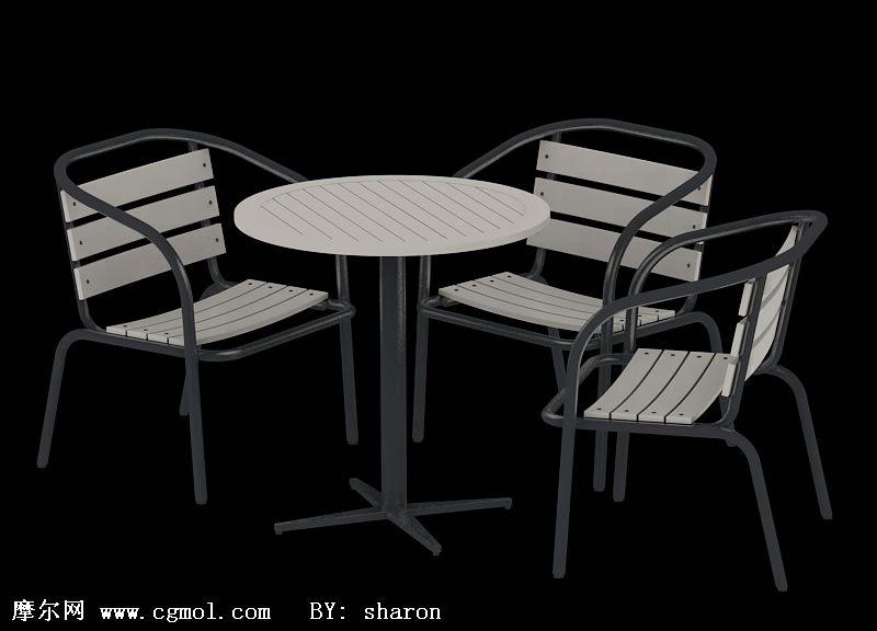 3D室外休闲桌椅设施模型