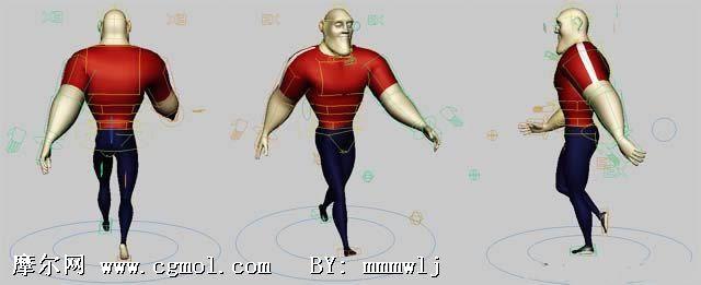 有骨骼带绑定的 maya人物模型 高清图片