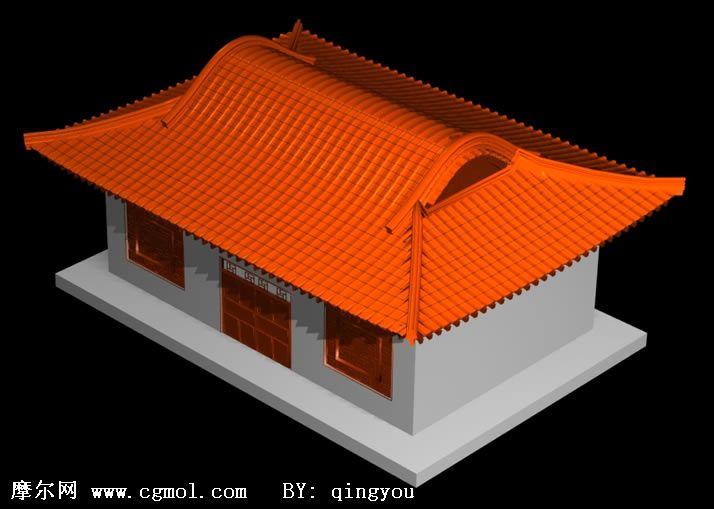 中式古代房屋建筑3d模型图片