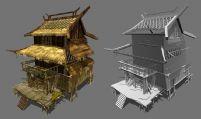 古时的茅草屋楼房,3D游戏场景模型