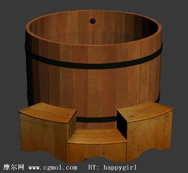 木制浴池,浴缸3d模型