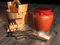 木桶,酒坛,火枪,菜刀,玩具火车头3D模型