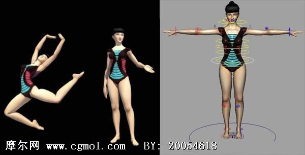 已绑定的女性体操运动员,maya人物模型 高清图片