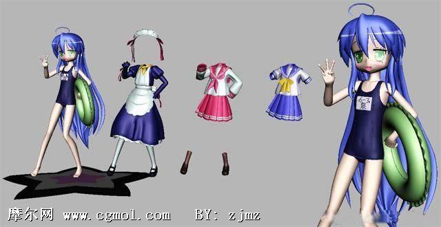 无敌幸运星的可爱小萝莉mpkonata maya卡通人物模型 高清图片