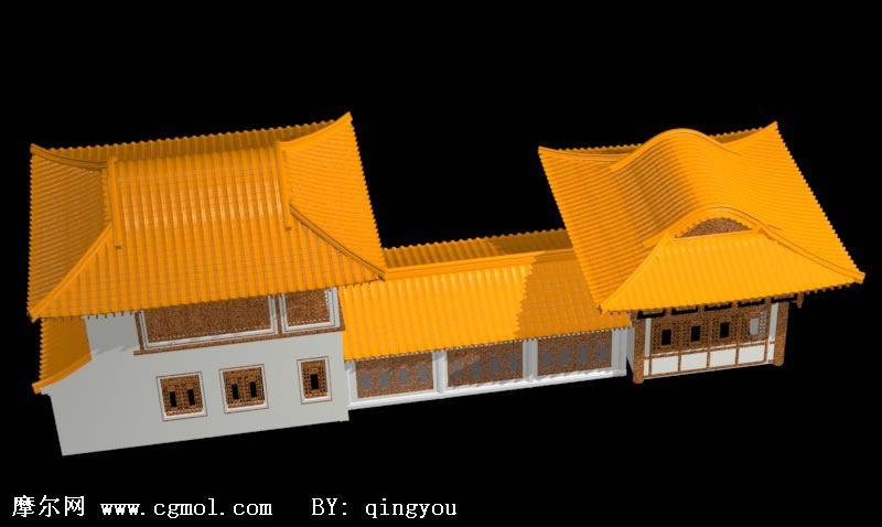 中式古建筑,楼房3d模型图片
