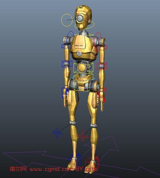 做好绑定的MAYA机器人模型