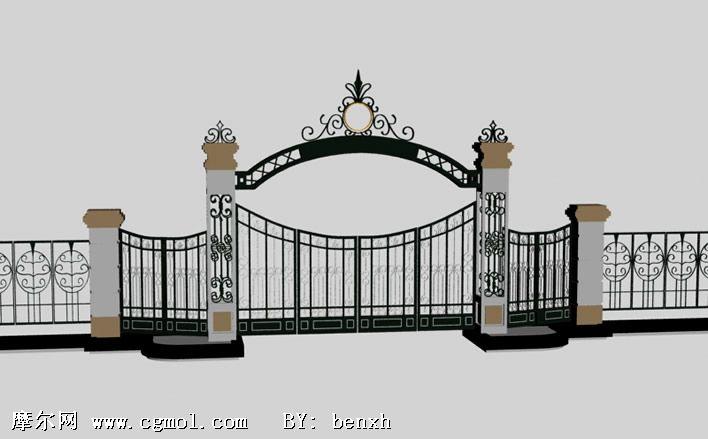 铁艺大门3d模型,其他建筑图片